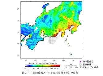 東海地震での長周期地震動の分布