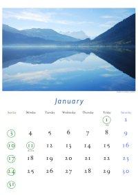 2010年1月のカレンダー