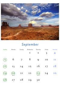 2010年9月のカレンダー