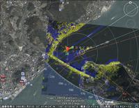 護衛艦「くらま」とコンテナ船「カリナスター」の衝突位置推定と、レーダー画像の合成