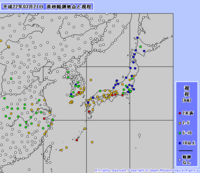 2010年3月21日 黄砂観測地点と視程 Copyright (c) Japan Meteorological Agency