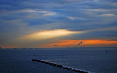 breakwater at cloudy dusk