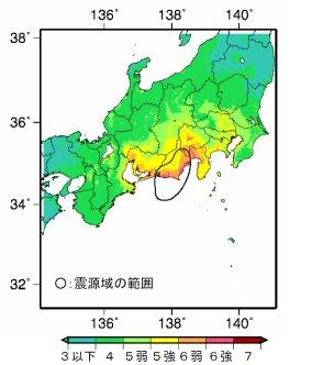 東海地震の予測震度分布